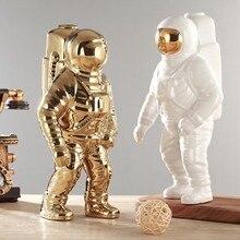 Золотая космическая Мужская скульптура астронавт модная ваза креативная Современная керамическая модель для космоната орнамент украшени...