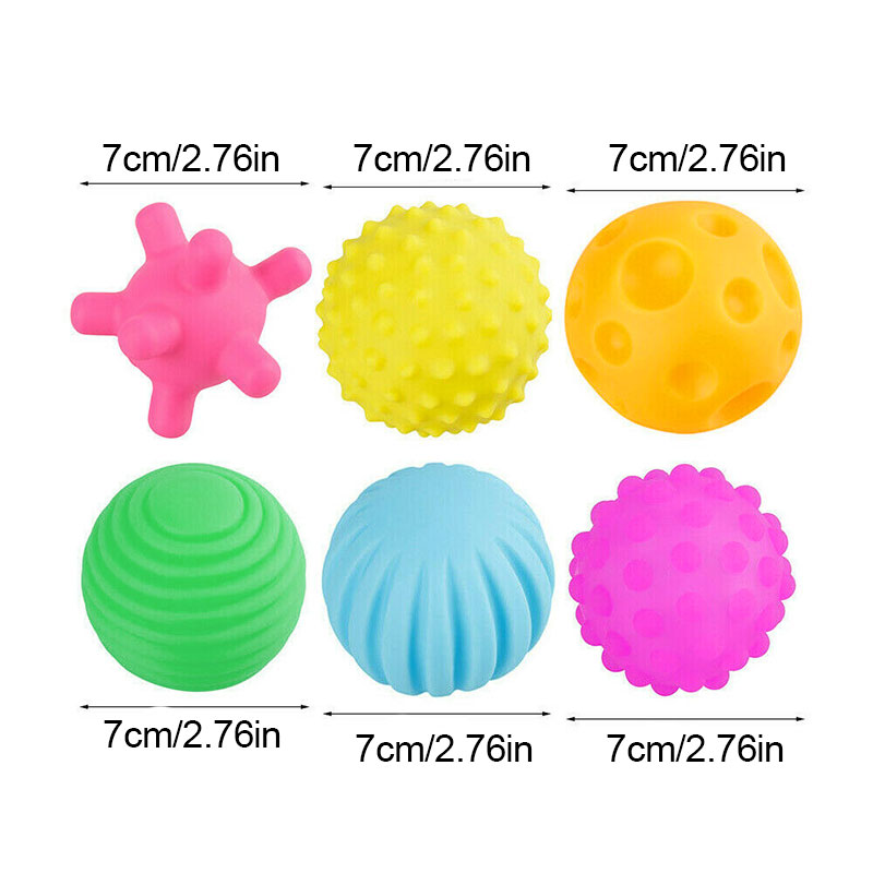 New 6pcs/set Baby Rubber Ball Soft Baby's Tactile Senses Toy Newborn Teether Massage Stress Training Ball Toys Kids Dropshipping enlarge