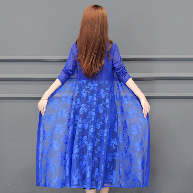 Women Cardigans Long Kimonos Summer Long Sleeve Sun-protection Lace Floral Long Coats Plus Size XL~4XL 5XL Casual Lady Cardigan 3