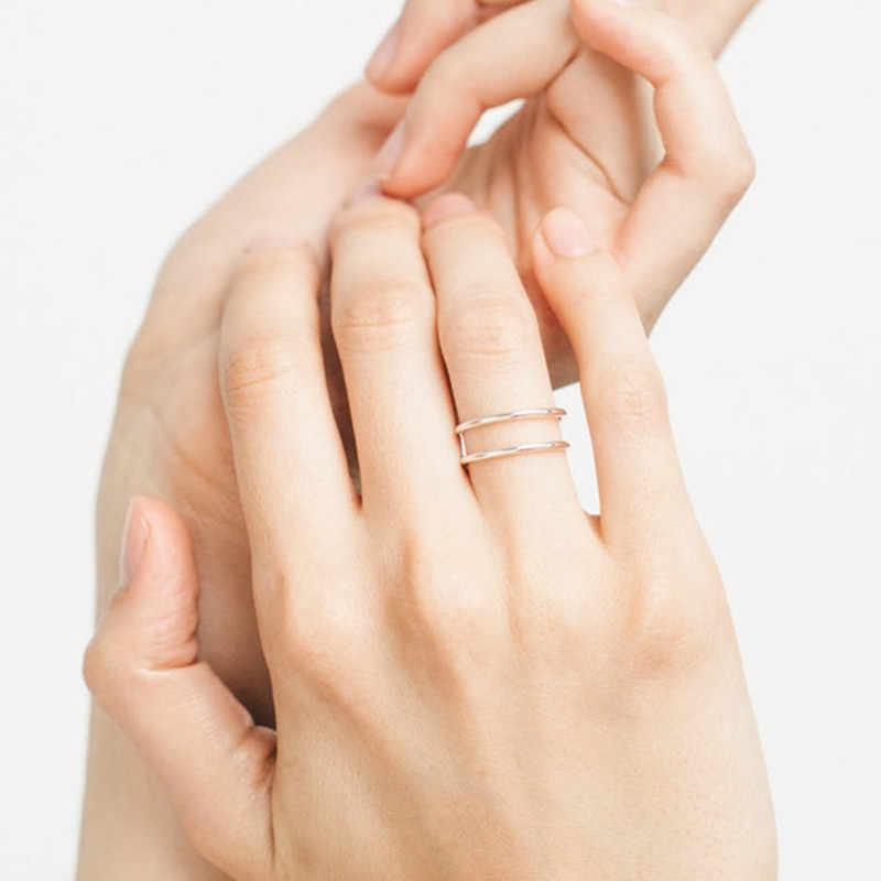 ใหม่แนวโน้มแฟชั่นสแตนเลสสตีลแบนแหวนแหวน Retro เรขาคณิตสีชมพูแหวนคอมโพสิตรอบ Midi แหวนเครื่องประดับ