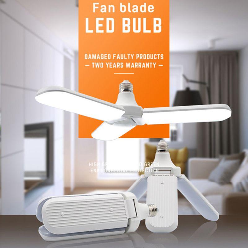 E27 LED Foldable Light Fan Shape Super Bright Bulb 220V 45W Angle Adjustable Ceiling Lamp Home Energy Saving Lights