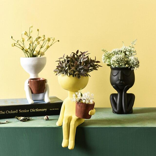 Character Portrait Flower Pot Resin Succulents Plant Pot Abstract Human Face Flower Pot Home Desktop Vase Micro Landscape Decor 5