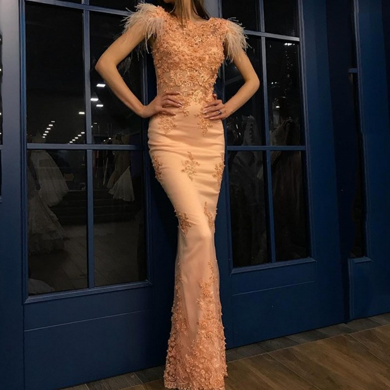 Elegant Evening Dress Formal Gowns Long Appliques Abendkleider Vestidos De Festa Feathers Evening Gowns Robe De Soiree Gala