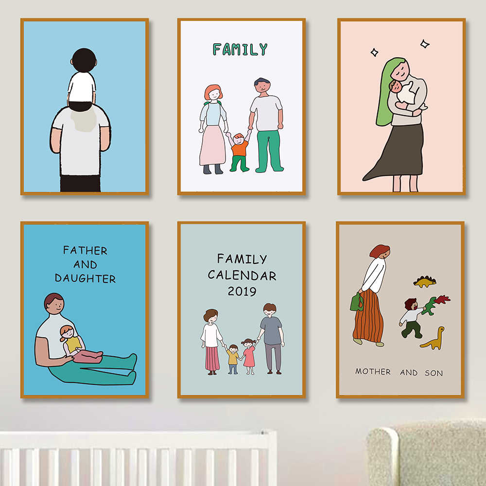 Family Canvas Painting Father and Mother Kids Daily Life Cartoon Prints Posters Love Pictures for Baby Nursery Children Bedroom