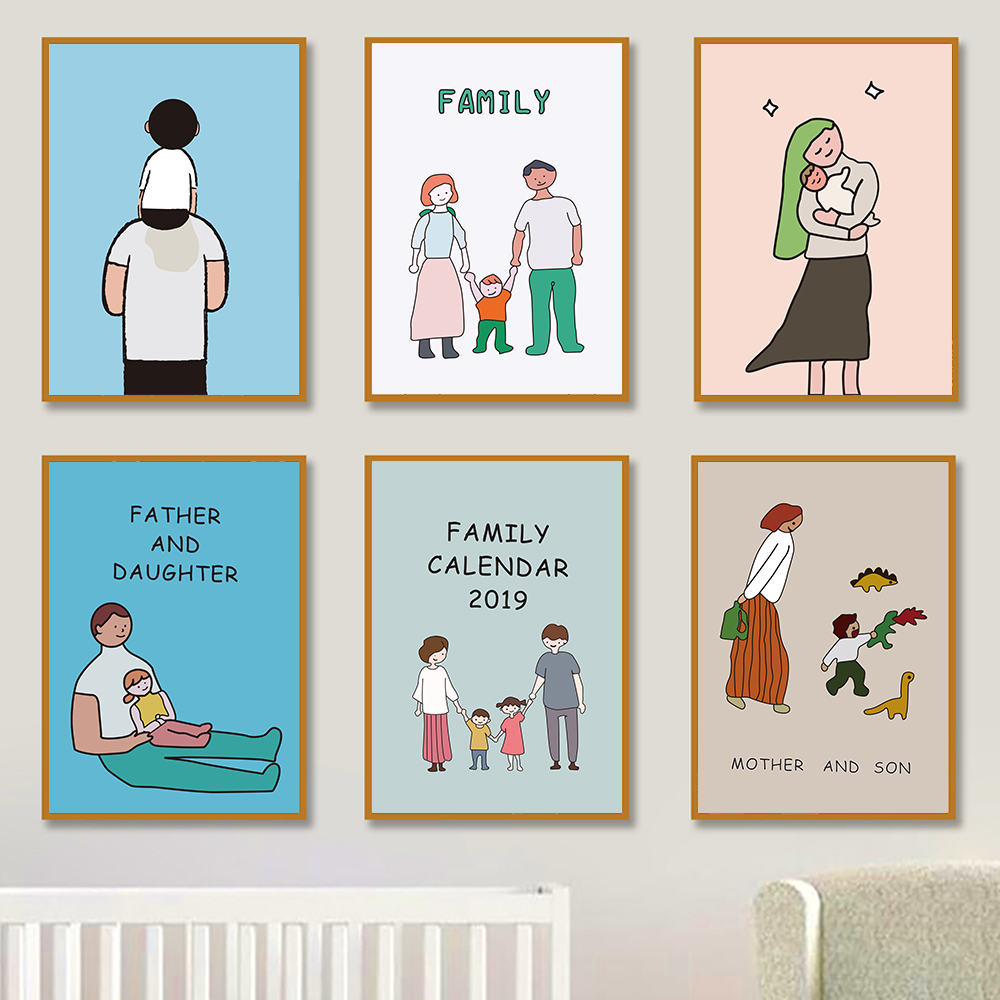 Family Canvas Painting Father And Mother Kids Daily Life Cartoon Prints Posters Love Pictures For Baby Nursery Children Bedroom Painting Calligraphy Aliexpress