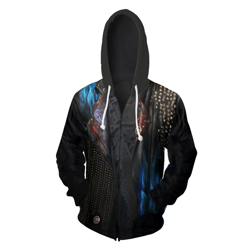 Movie Descendants 3 Cosplay Hoodie Men Women Zipper SKULL Hooded Sweatshirts Fashion Halloween Costumes Tops
