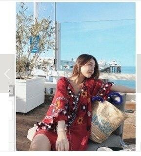 Ethnic-Style Red V-neck Tassels Snowflake Embroided Dress Women's Summer A- Line Short Skirt