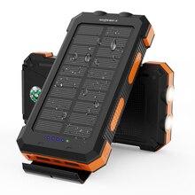 Banco de energia solar 24000 mah carregador solar portátil à prova dwaterproof água com bússola dupla lanterna e usb duplo para iphone ipad samsung