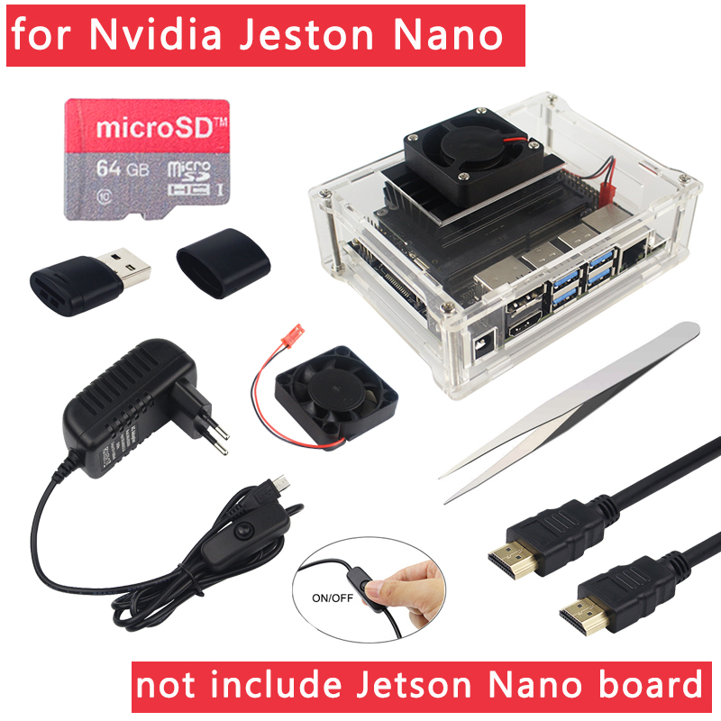 Nvidia Jetson Nano Accessories Acrylic Case + Cooling Fan + Tweezer Optional ( 64 32 GB SD Card |Switch Power Adapter |HDMI )