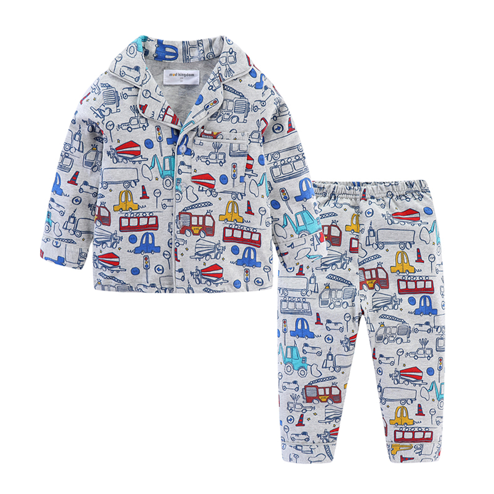 Mudkingdom Boys Girls Pajamas Set Callared Long Sleeve Cute Cartoon Autumn Toddler Pajama Kids Sleepwear Print Children Clothes 6