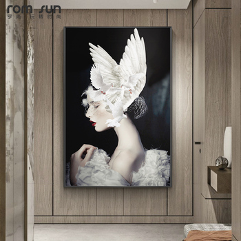Elengent Girls with Pure White Wings Headwear Wall Art Painting Modern Wall Pictures for Living Room Canvas Painting Home Doce image
