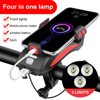 Multi-Function 4 in 1 Bicycle Light Flashlight Bike Horn Alarm Bell Phone Holder Power Bank Bike Accessories Cycling Front Light bicycle bike handlebar ball air horn trumpet ring bell loudspeaker noise maker free shipping