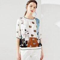 100% Silk Woman Print Loose T shirt Women High Quality O Neck Short Sleeves Pullover Casual Basic Elegant Clothing Fashion