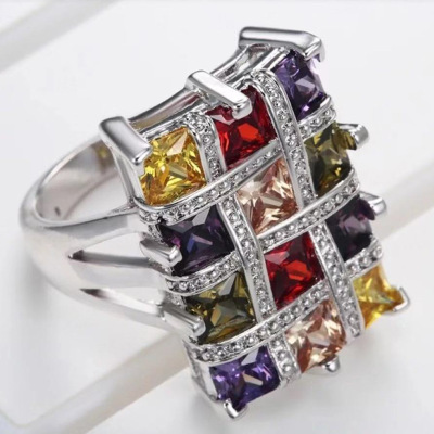 Big Square Colorful Rhinestone Rings Male Female Punk Rings Wedding Band Promise Love Engagement Rings