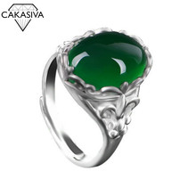 Green Agate Ring Emerald 925 Silver Retro Inlaid Chalcedony Index Finger Adjustable Women's Ring Gift Silver Jewelry Wholesale sterling silver inlaid green chalcedony ring silver retro female food