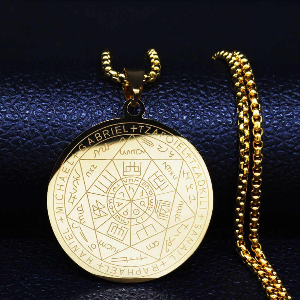 Witchcra Pentagram naszyjniki ze stali nierdzewnej siedem archaniołów mężczyzn naszyjniki w kolorze srebrnym biżuteria colgante N18903