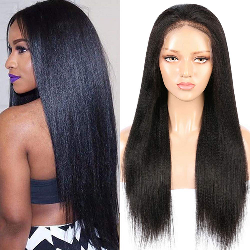 Italian Yaki Full Lace Human Hair Wigs Glueless 150% Brazilian Remy Full Lace Wig Pre Plucked With Baby Hair Hand-Made Long Wig