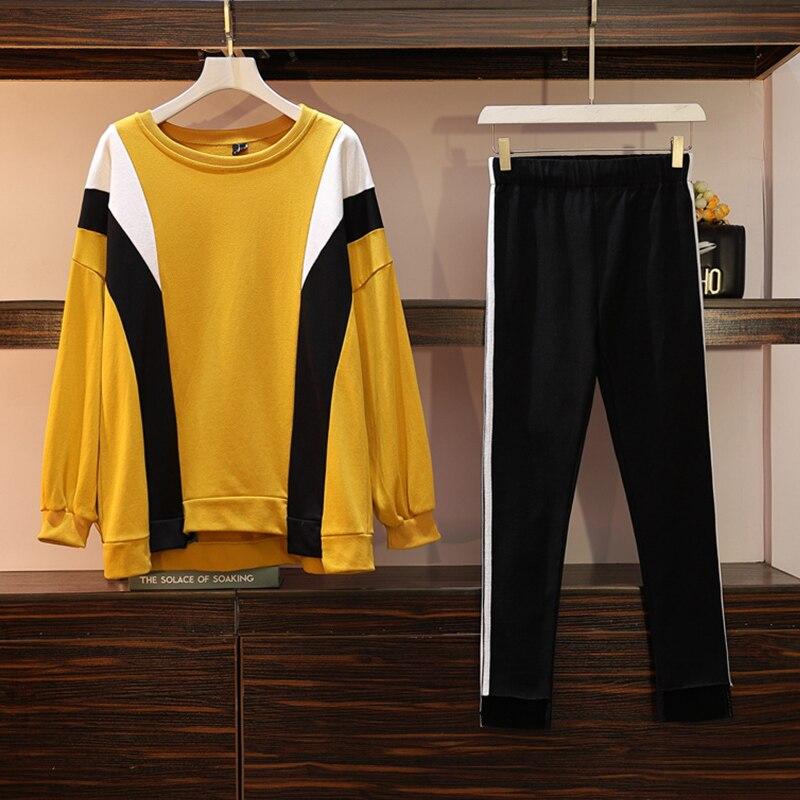 Large Plus Size 5XL Women's Sports Suit T Shirt+Elastic Pants Two Piece Set Top And Pant Set Tracksuit Clothes Matching Set