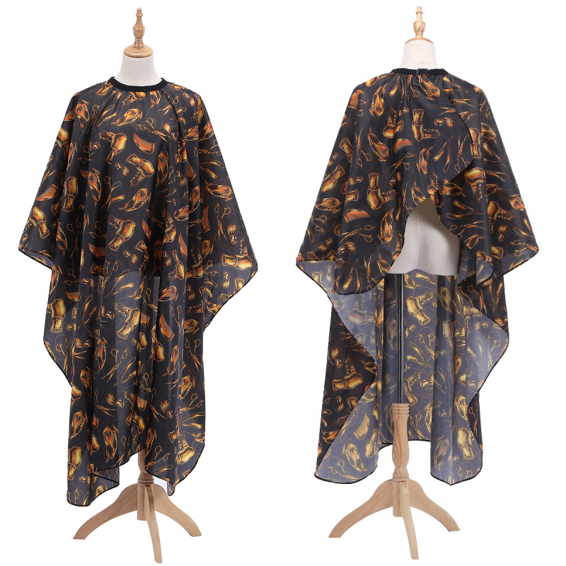 Best-selling 2019 Product Gold Pattern Haircut Tarpaulin Salon Barber Cloak Beauty Hairdresser Apron Haircut Cloth TSLM