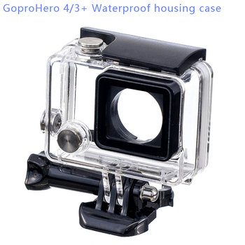 цена на Go pro hero4/3+ Waterproof Protective Protection Housing Case for Gopro4/3+ with Long Screw Mounting Base Buckle