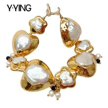 Y·YING natural White Keshi Pearl Heart and Butterfly Shape with gold color plated Edge Bracelet 9