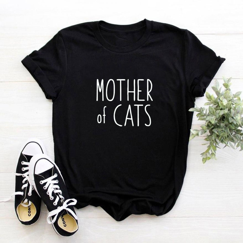 Mother of cats letter Print Women t shirt Cotton Casual Funny tshirt For Lady Girl cat lover Tops graphic Tees Hipster image