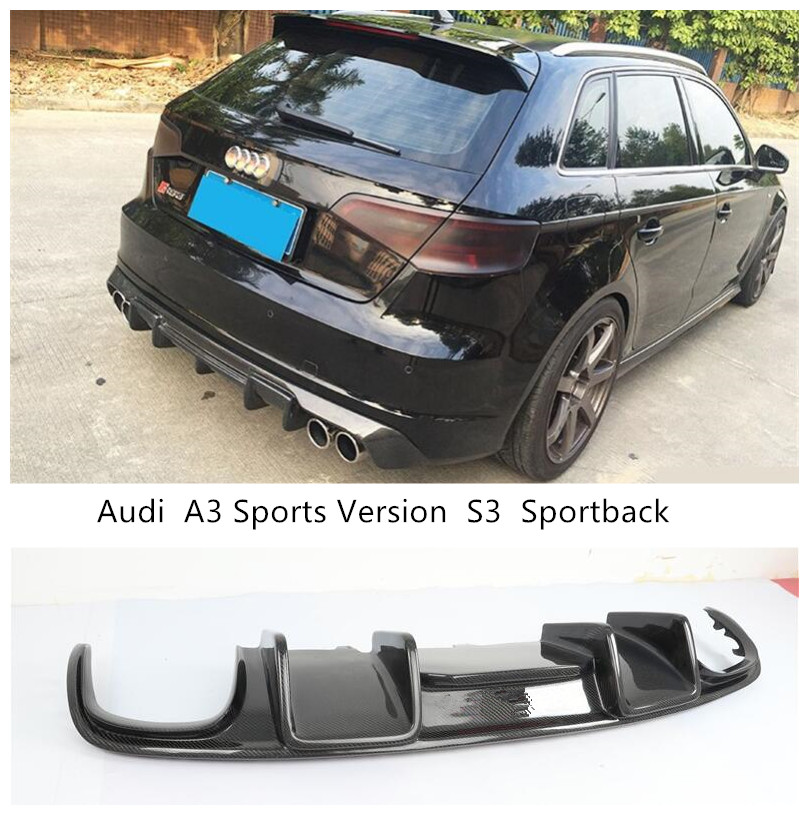 For <font><b>Audi</b></font> <font><b>A3</b></font> Sports Version S3 Sportback 2014 2015 <font><b>2016</b></font> Carbon Fiber <font><b>Rear</b></font> Lip Spoiler Bumper <font><b>Diffuser</b></font> Car Accessories image