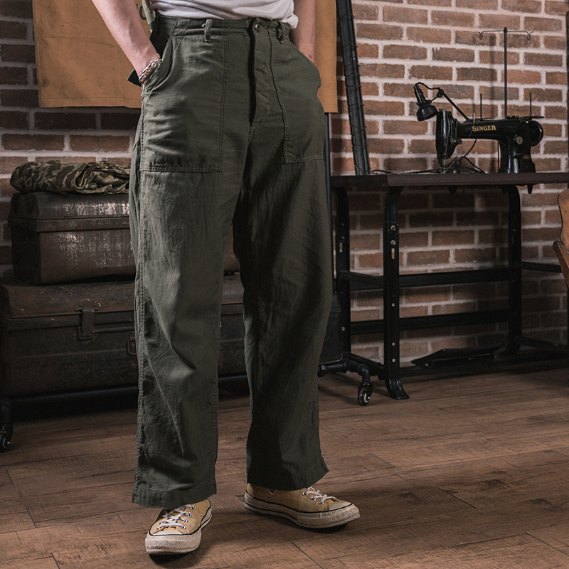 STOCK OG-107 NON Fatigue Utility Pants Military Baker Trousers Sateen Army Green