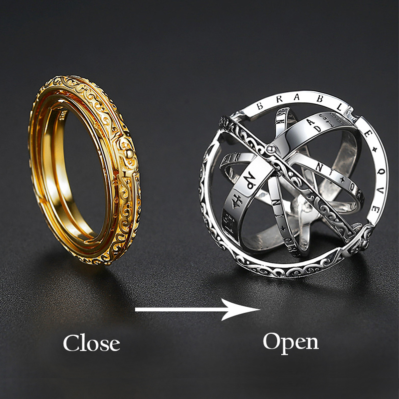 Astronomy Ball Rings Men Openable Rotate Sphere Cosmic Planet letter Ring Women Fashion Jewelry DropShipping 7-12 Size Kольца 1