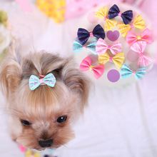 10PCS Color Random Dog Kitten Puppy Cute Pet Grooming Floral Solid Cotton Bow Flower Hairpins Butterfly Hair Clips Hair Barrette