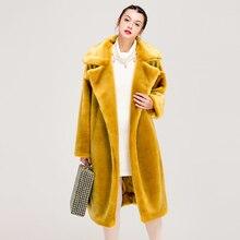 Новое кожаное меховое длинное плюшевое пальто женские меховые куртки из искусственного меха плюшевое пальто женское меховое пальто куртка меховая плюшевая куртка