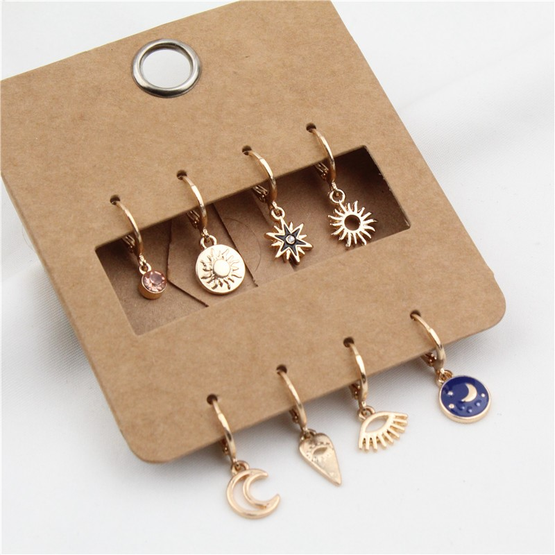 GEOMEE 8PCS Cute Rhinestone Star Mini Small Hoop Earrings Trendy Evil Eye Hollow Moon Sun Heart Endless Circle Earrings Jewelry