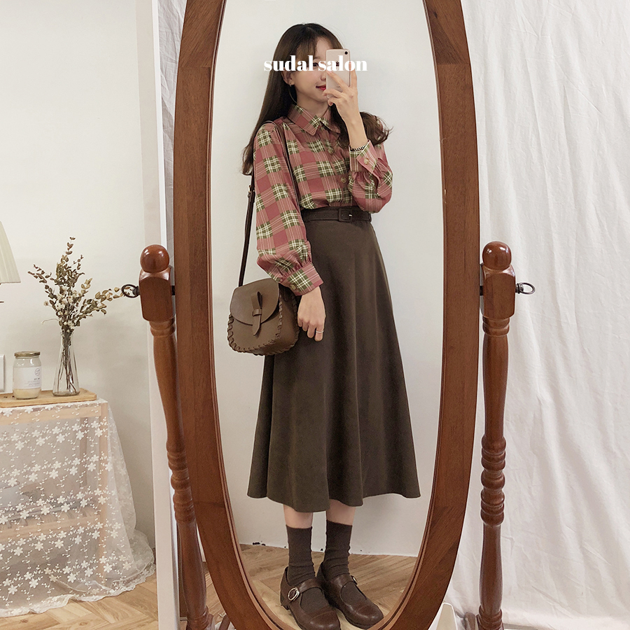 New A Line Solid Women Skirts Pleated New Autumn Plus Size Knee Length Skirt Female Vintage Suede Skirts Jupe Femme Faldas Mujer