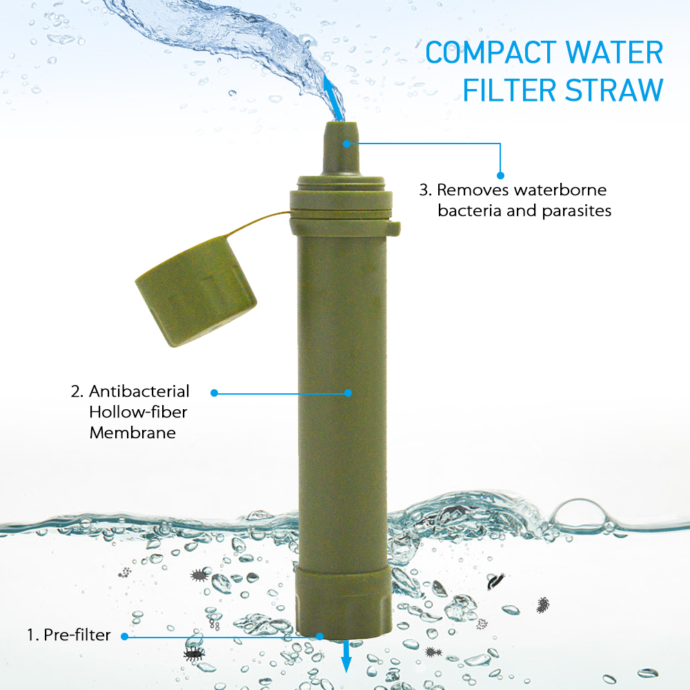 Outdoor Water Filter Straw Water Filtration System Water Purifier for Emergency Preparedness Camping Traveling Backpacking