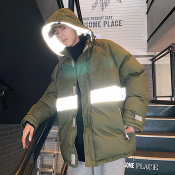 UYUK2109 Winter New Casual Baguette Fashion Trend Reflective Strip Warm Bread Clothing Men Cotton-padded Clothes Homme