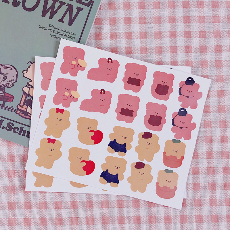 20Pcs/Pack Cartoon Cute Korea Ins Soft Bear Sticker DIY Scrapbooking Album Diary Label Decoration Stickers