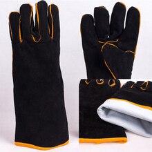 1 paar Schwarz Heavy Duty Mig Verdicken Schweißen Handschuhe Stulpen Schweißer Leder Handschuhe Wärme Beständig für Schweißer/Outdoor BBQ