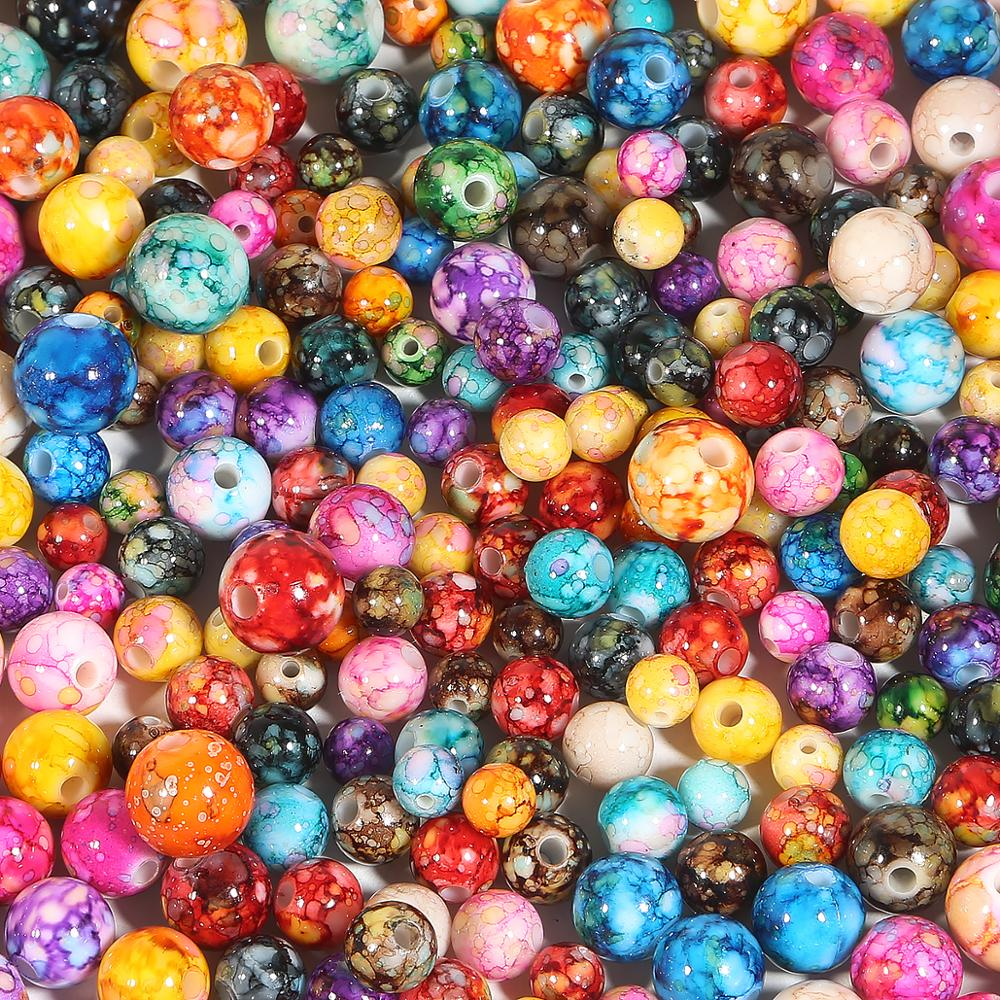 100PCS Spacer Acrylic Jelly Loose Beads 8//10//14mm DIY Jewelry Making Finding New