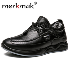 Merkmak Men's Leather Shoes High Quality Autumn Winter Casual Flats Shoes Black Lace-Up Breathable Male Footwear Large Size 46