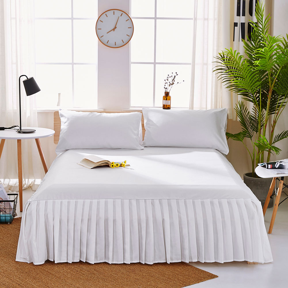 1pc Sanding Bedspread Solid Color Fitted Sheet Cover Soft Non-Slip King Queen Bed Skirt Protector Bed Mat Cover 1.2m/1.5m/1.8m 10