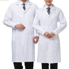 S-2XL унисекс белый лабораторный халат медицинская одежда для медицинского персонала Униформа доктор пальто куртки кормящих мужчин женщин длинный медицинский больница