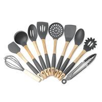 Silicone Kitchenware Set 10Pcs Kitchen Gadgets Cooking Tool Nonstick Spatula Colander Spoon Scraper Butter Wood Kitchen Utensils