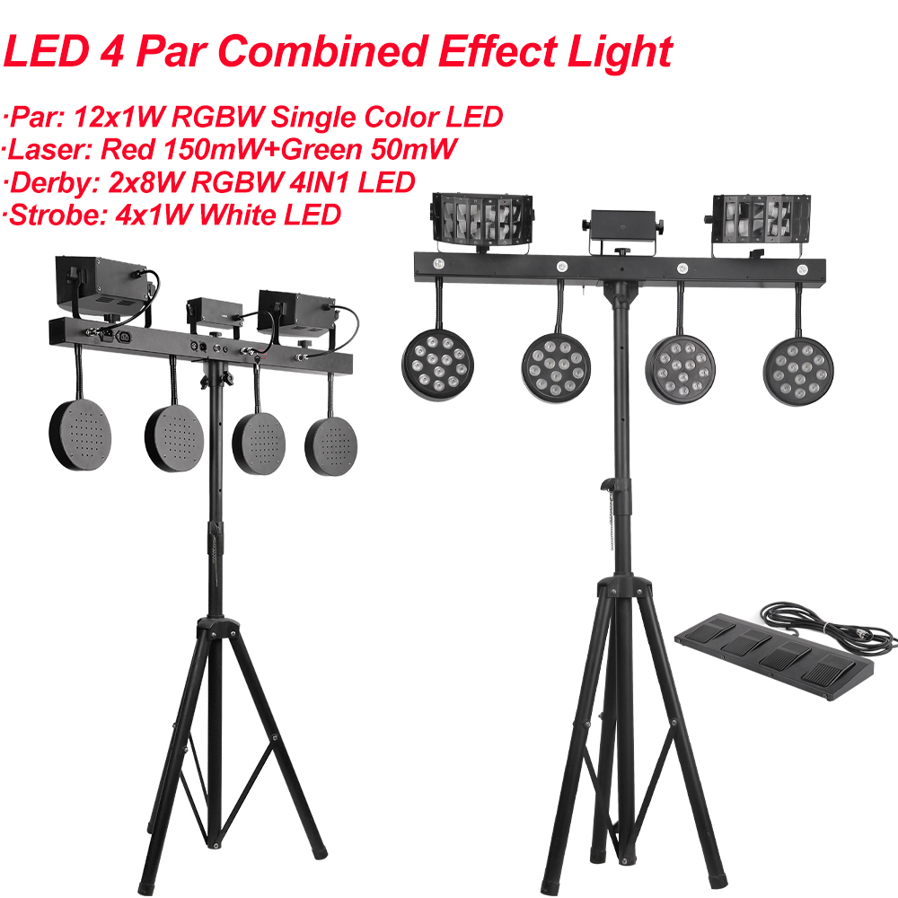 2Pcs/Lot 126W 4IN1 Effect LED Par Kit With Laser Strobe Derby Multi-function Light DJ Wash Light Stage KTV Disco Party DMX512