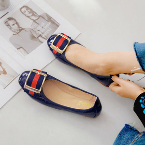 Womens Foldable Soft Square Toe Ballet Flats Square Buckle Comfort Slip on Flat Shoes