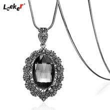 LEEKER Big Oval Stone Flowers Pendant Long Necklace Snake Chain Women Statement Jewelry 086 LK2