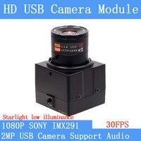 Manual Fixed Focus CCTV Video Star Light Low illumination 2MP 1080P SONY IMX291 Webcam UVC Plug Play USB Camera with Case