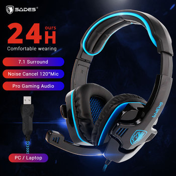 SADES WOLFANG Headset Gamer 7.1 Surround Noise Cancelling Gaming Headset Headphones With Microphone SA901 for Laptop PC sades locust plus gaming headset virtual 7 1 surround sound headphones rgb usb wired headband earphones