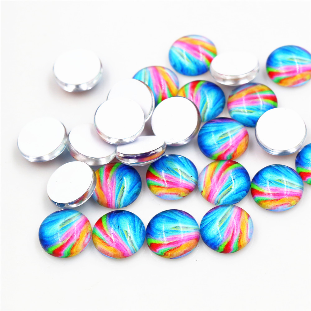 Hot Sale 50pcs 8mm 10mm Mix Colors Fashion Mixed Handmade Glass Cabochons Pattern Domed Jewelry Accessories Supplies