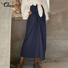 Women Harajuku Skirt Celmia Women Vintage Cotton Casual Bandage Long Skirts Spring Summer Loose maxi skirts 5XL Plus Size skirt