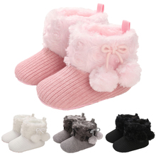 Baby-Girls Shoes Snow-Booties First-Walkers Round Newborn Infant Winter Plush Footwear